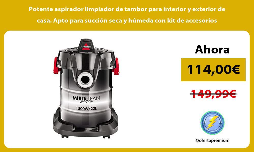 Potente aspirador limpiador de tambor para interior y exterior de casa Apto para succion seca y humeda con kit de accesorios