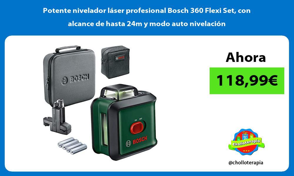 Potente nivelador laser profesional Bosch 360 Flexi Set con alcance de hasta 24m y modo auto nivelacion