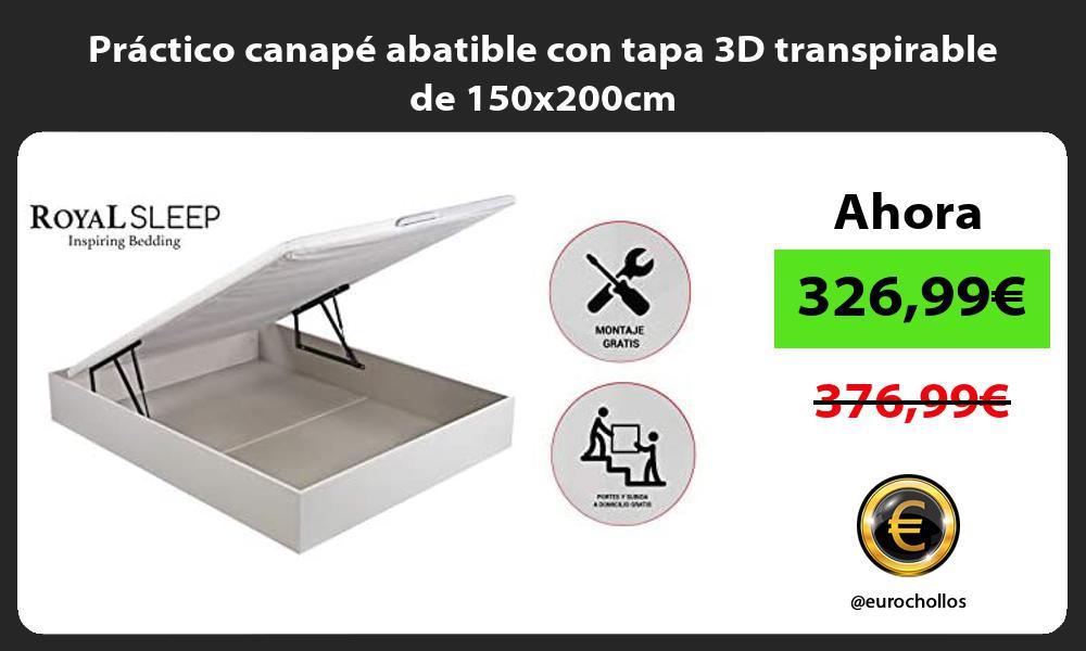 Practico canape abatible con tapa 3D transpirable de 150x200cm