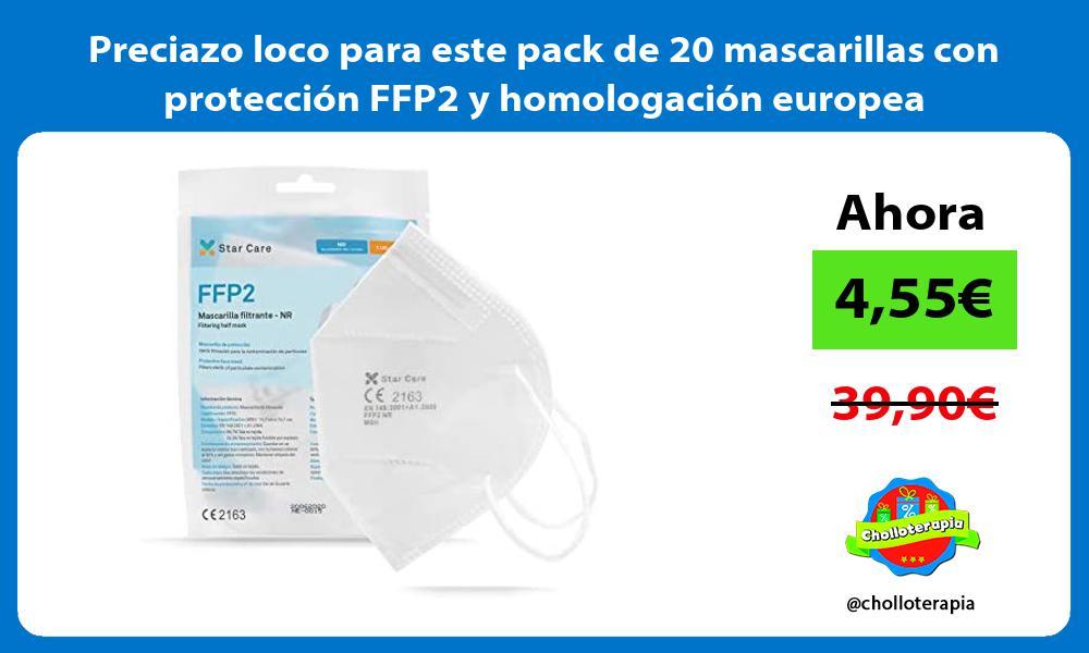Preciazo loco para este pack de 20 mascarillas con proteccion FFP2 y homologacion europea
