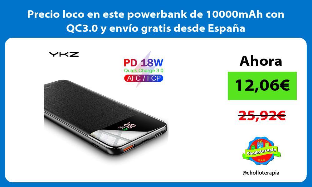 Precio loco en este powerbank de 10000mAh con QC3 0 y envio gratis desde Espana