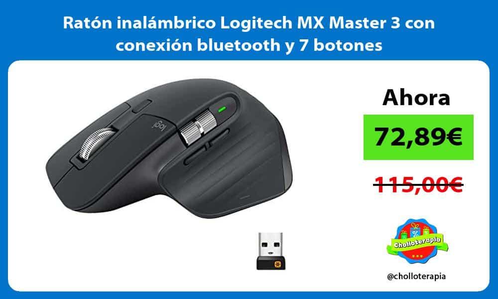 Ratón inalámbrico Logitech MX Master 3 con conexión bluetooth y 7 botones