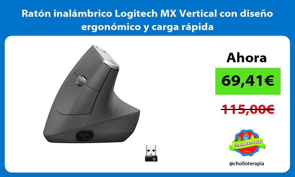 Ratón inalámbrico Logitech MX Vertical con diseño ergonómico y carga rápida