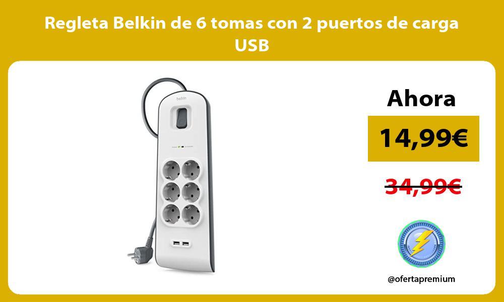 Regleta Belkin de 6 tomas con 2 puertos de carga USB