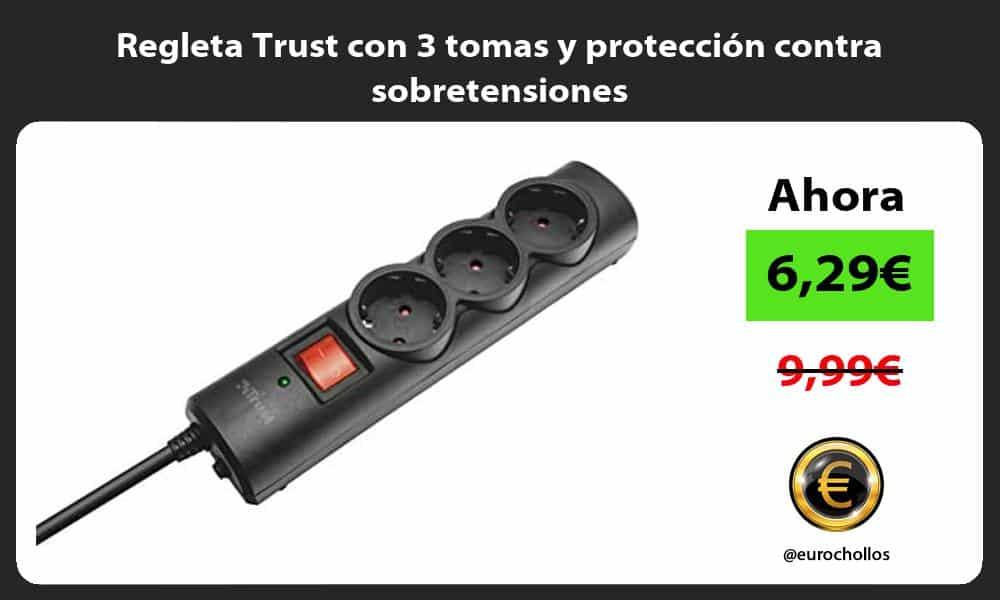 Regleta Trust con 3 tomas y protección contra sobretensiones