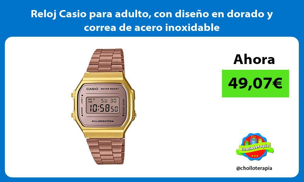 Reloj Casio para adulto con diseno en dorado y correa de acero inoxidable
