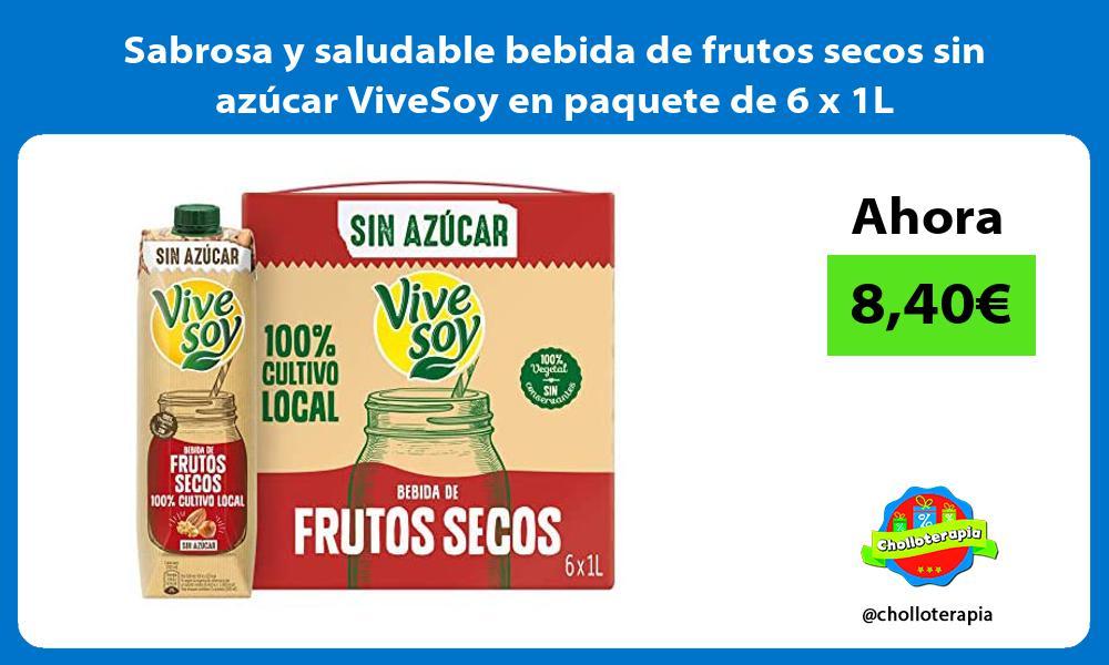 Sabrosa y saludable bebida de frutos secos sin azucar ViveSoy en paquete de 6 x 1L