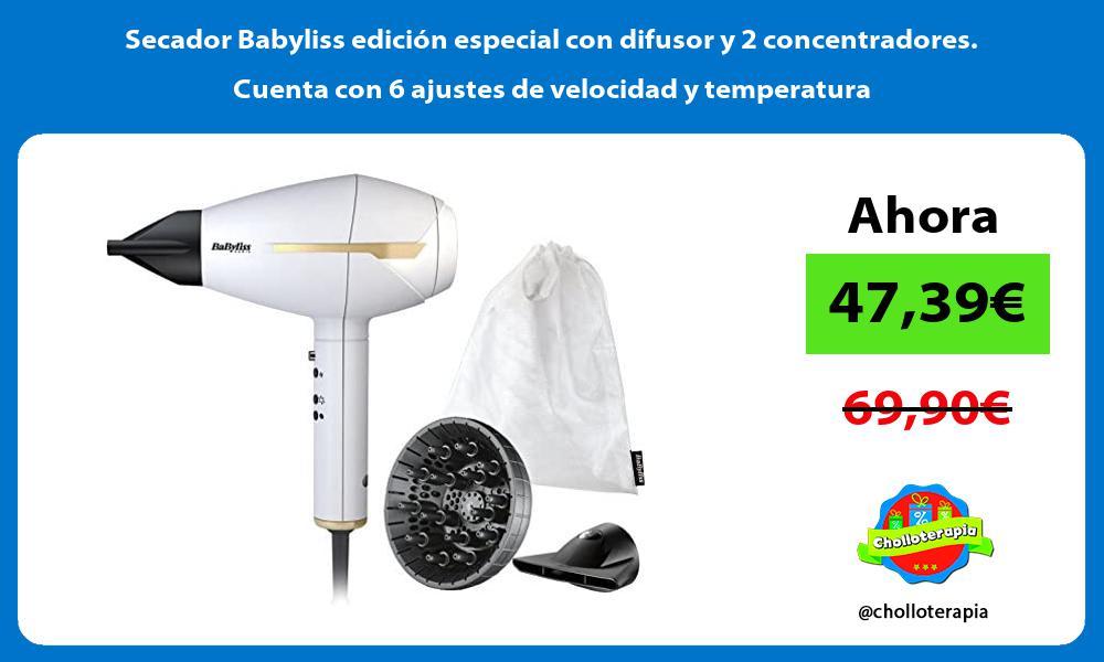 Secador Babyliss edición especial con difusor y 2 concentradores Cuenta con 6 ajustes de velocidad y temperatura