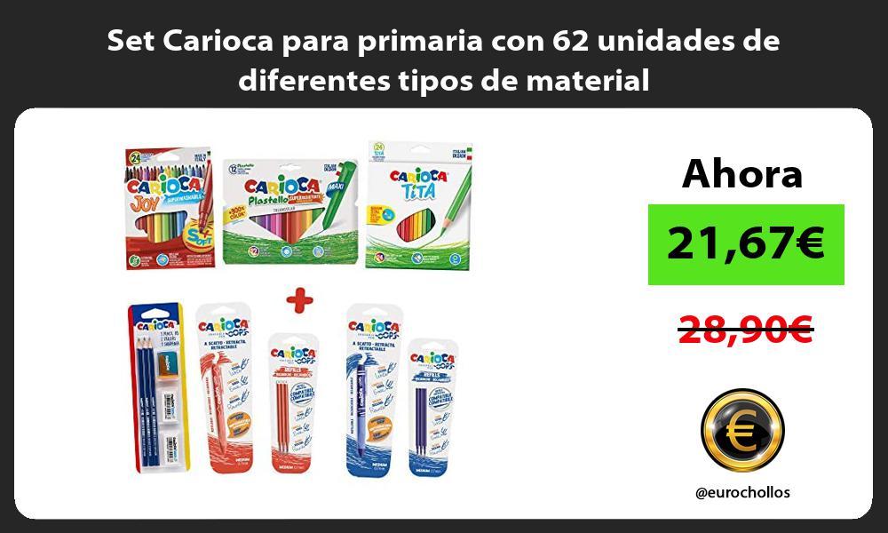 Set Carioca para primaria con 62 unidades de diferentes tipos de material