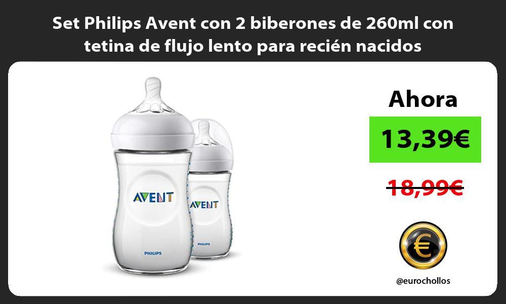 Set Philips Avent con 2 biberones de 260ml con tetina de flujo lento para recien nacidos