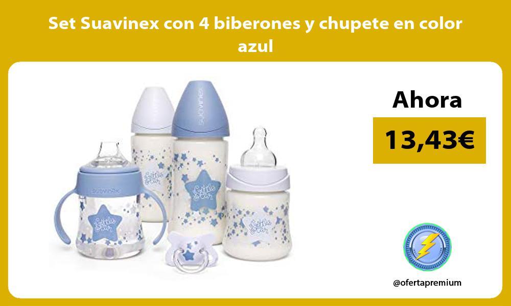Set Suavinex con 4 biberones y chupete en color azul