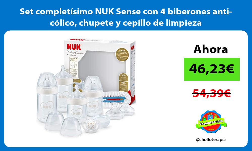 Set completisimo NUK Sense con 4 biberones anti colico chupete y cepillo de limpieza