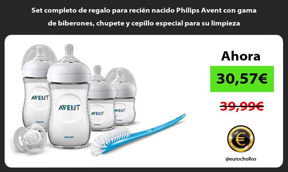Set completo de regalo para recien nacido Philips Avent con gama de biberones chupete y cepillo especial para su limpieza
