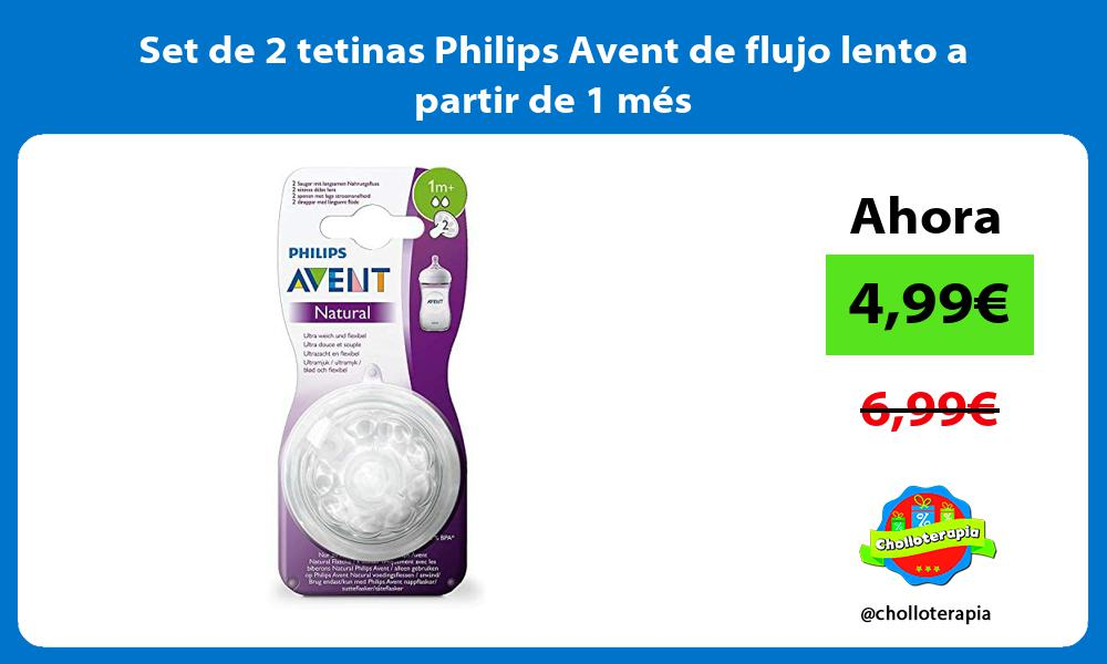 Set de 2 tetinas Philips Avent de flujo lento a partir de 1 mes