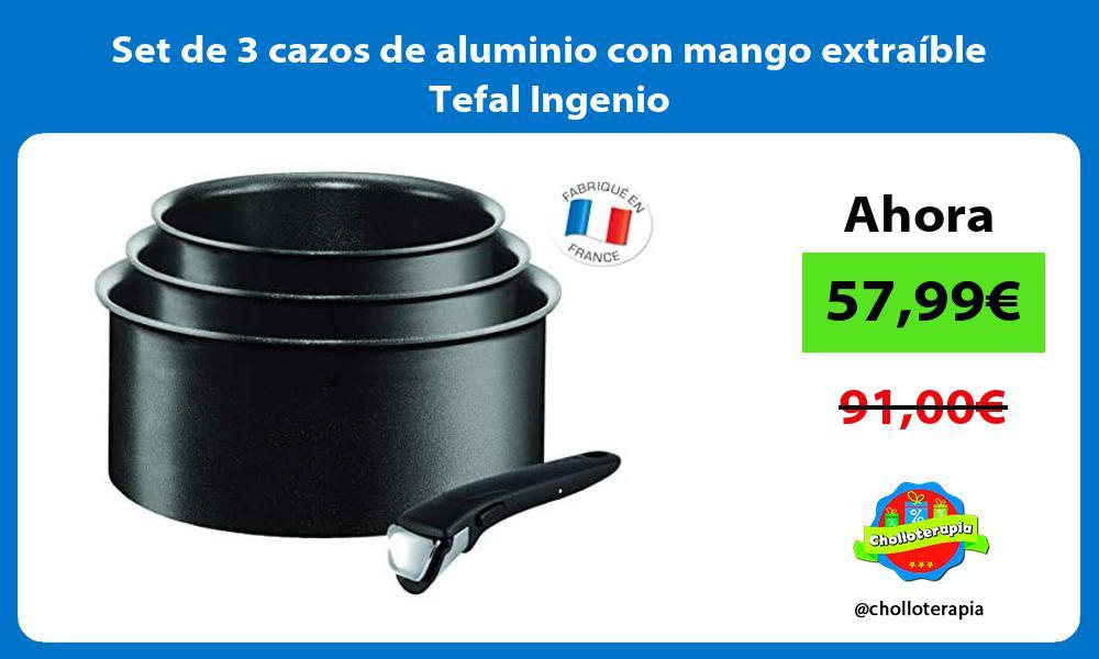 Set de 3 cazos de aluminio con mango extraíble Tefal Ingenio