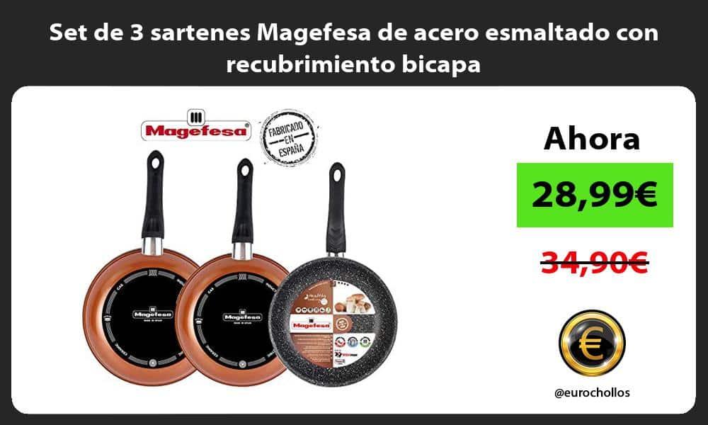 Set de 3 sartenes Magefesa de acero esmaltado con recubrimiento bicapa
