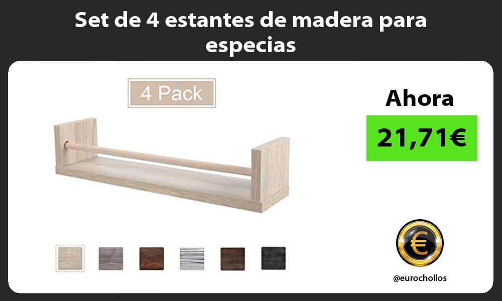 Set de 4 estantes de madera para especias