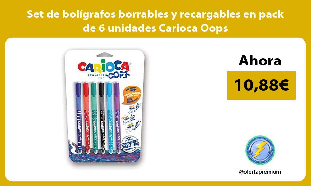 Set de boligrafos borrables y recargables en pack de 6 unidades Carioca Oops