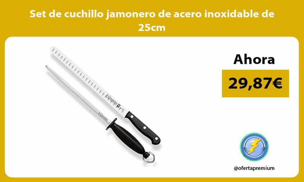 Set de cuchillo jamonero de acero inoxidable de 25cm