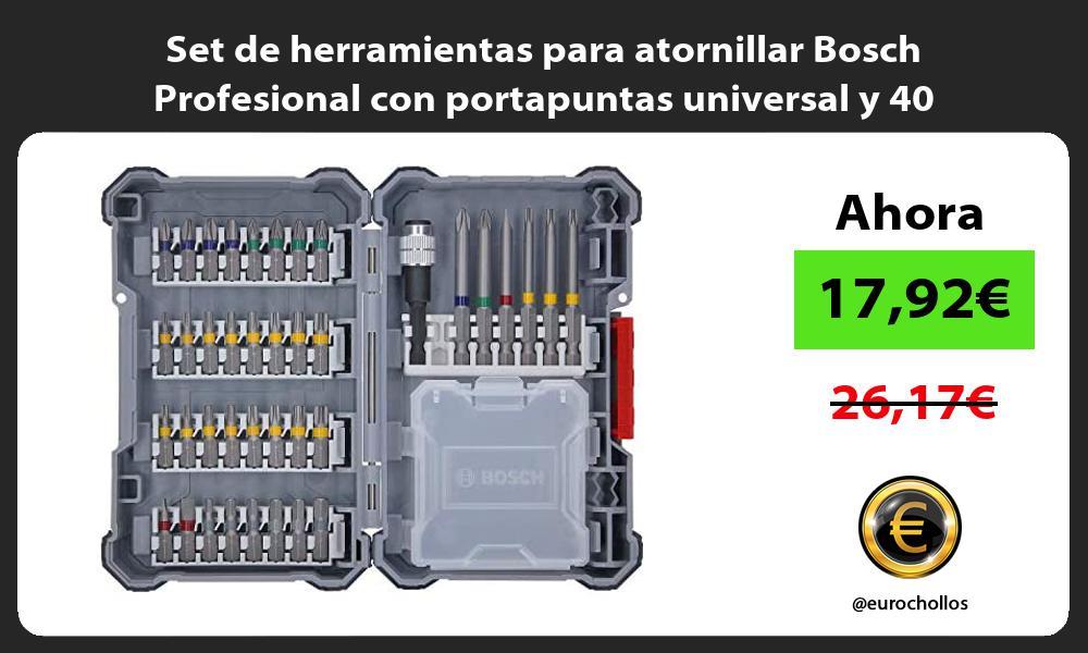 Set de herramientas para atornillar Bosch Profesional con portapuntas universal y 40 unidades