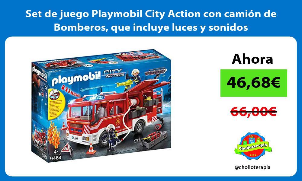 Set de juego Playmobil City Action con camion de Bomberos que incluye luces y sonidos