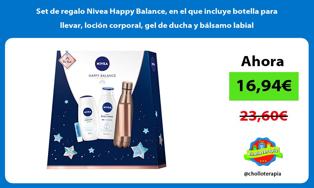Set de regalo Nivea Happy Balance en el que incluye botella para llevar locion corporal gel de ducha y balsamo labial