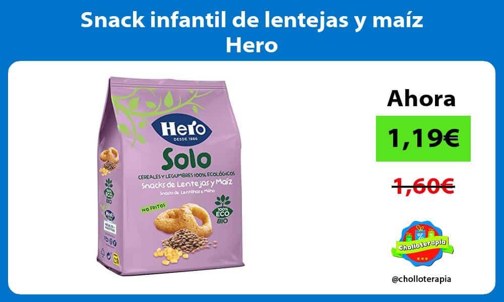 Snack infantil de lentejas y maíz Hero