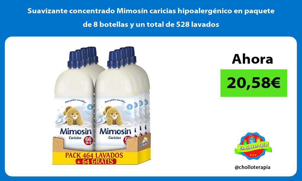 Suavizante concentrado Mimosin caricias hipoalergenico en paquete de 8 botellas y un total de 528 lavados