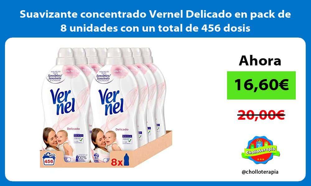 Suavizante concentrado Vernel Delicado en pack de 8 unidades con un total de 456 dosis
