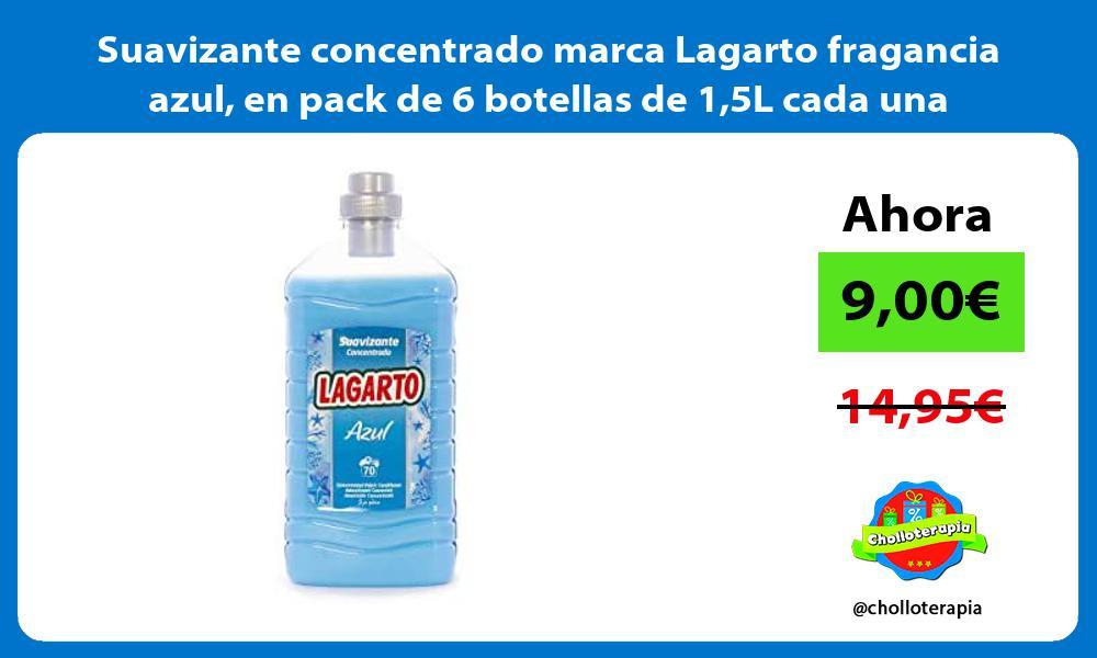 Suavizante concentrado marca Lagarto fragancia azul en pack de 6 botellas de 15L cada una