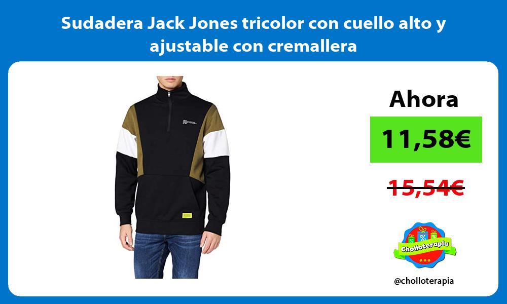 Sudadera Jack Jones tricolor con cuello alto y ajustable con cremallera