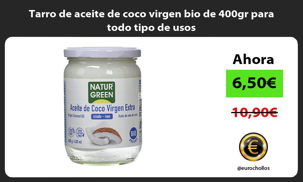 Tarro de aceite de coco virgen bio de 400gr para todo tipo de usos