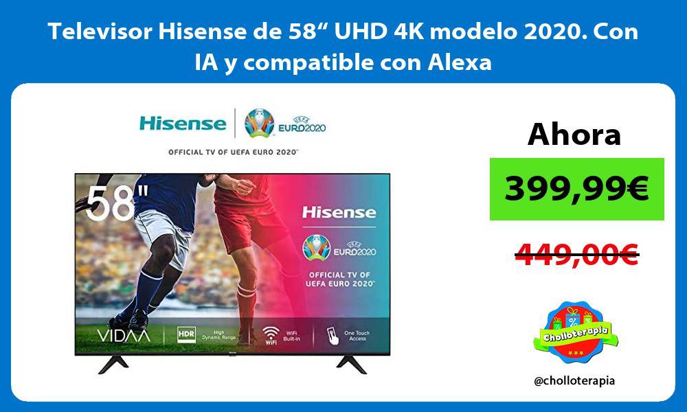 """Televisor Hisense de 58"""" UHD 4K modelo 2020 Con IA y compatible con Alexa"""