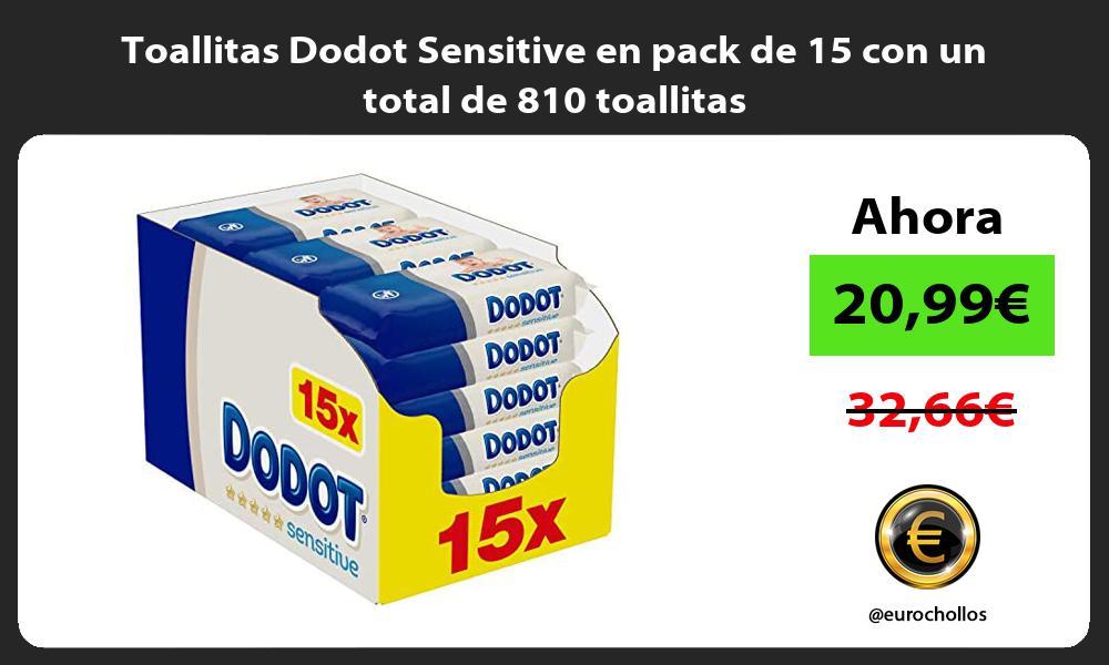 Toallitas Dodot Sensitive en pack de 15 con un total de 810 toallitas