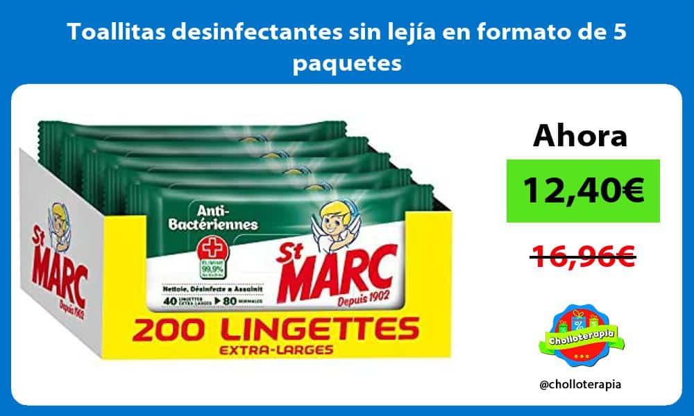 Toallitas desinfectantes sin lejía en formato de 5 paquetes
