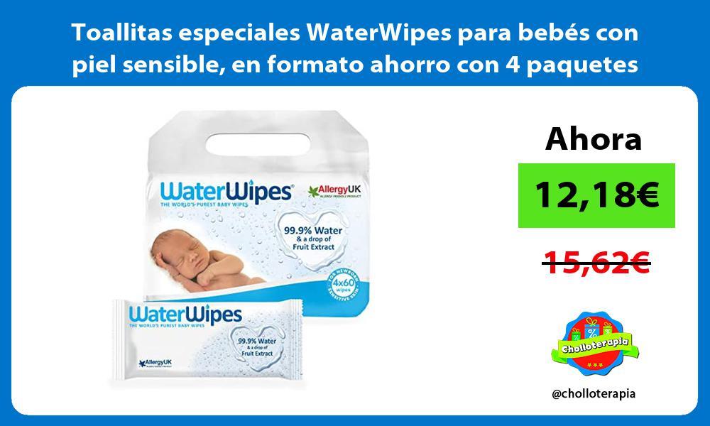 Toallitas especiales WaterWipes para bebes con piel sensible en formato ahorro con 4 paquetes