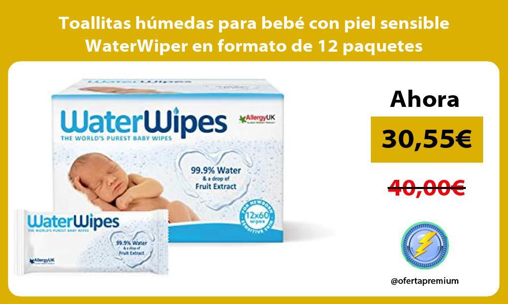 Toallitas húmedas para bebé con piel sensible WaterWiper en formato de 12 paquetes