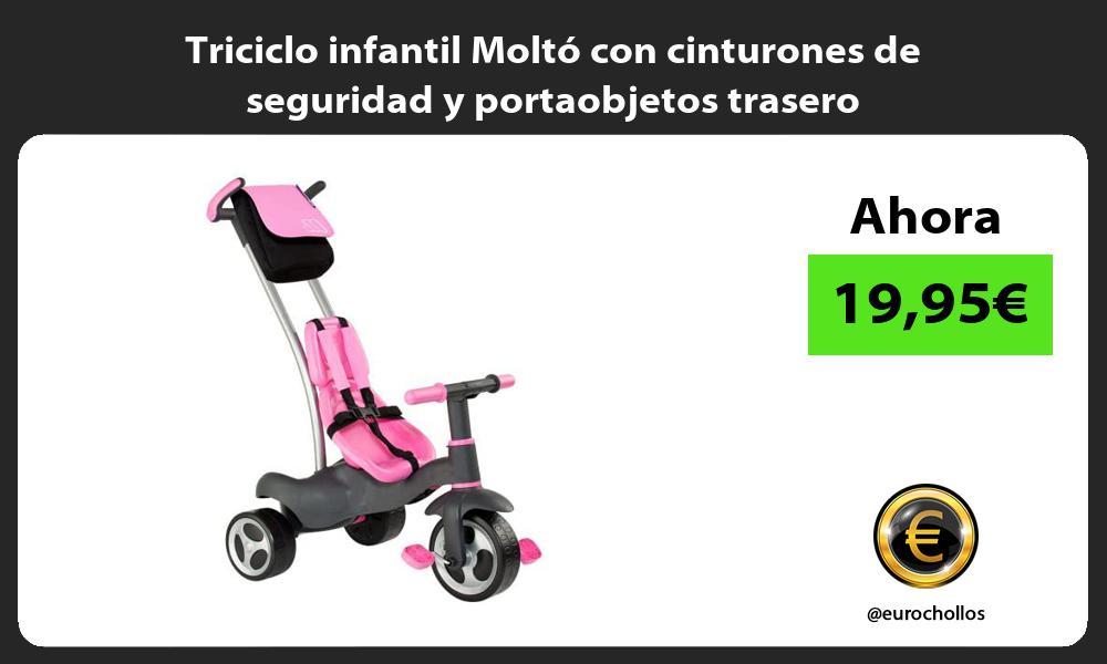 Triciclo infantil Moltó con cinturones de seguridad y portaobjetos trasero
