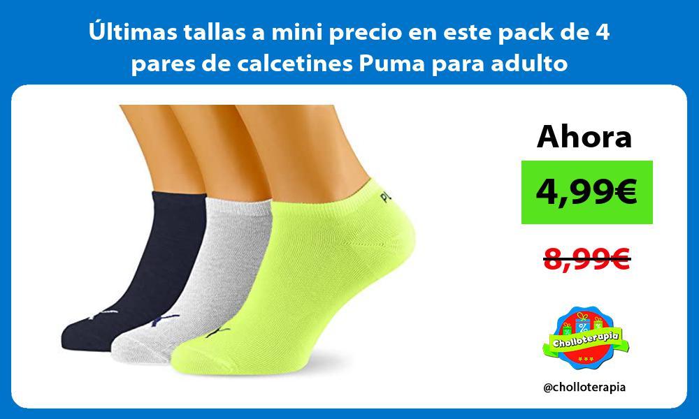 Ultimas tallas a mini precio en este pack de 4 pares de calcetines Puma para adulto