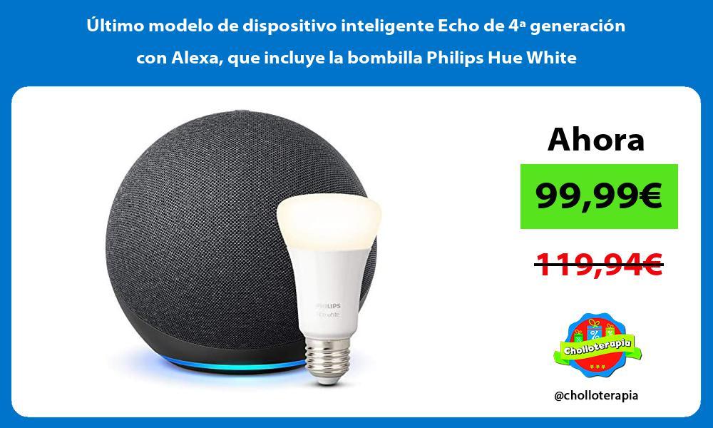 Ultimo modelo de dispositivo inteligente Echo de 4a generacion con Alexa que incluye la bombilla Philips Hue White