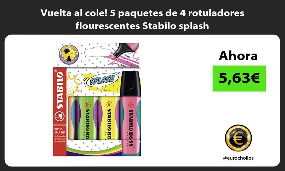 Vuelta al cole 5 paquetes de 4 rotuladores flourescentes Stabilo splash