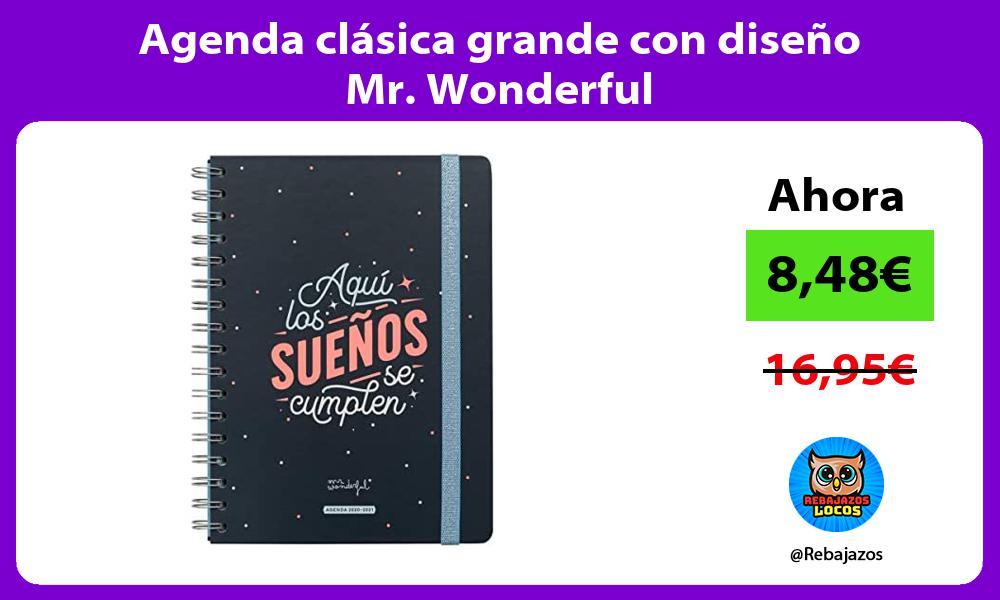 Agenda clasica grande con diseno Mr Wonderful