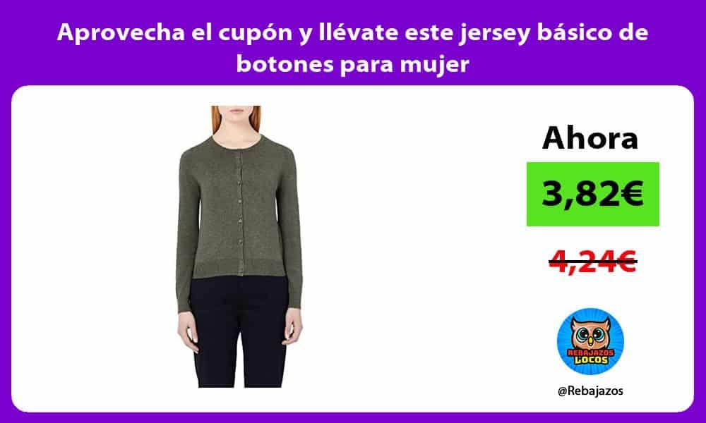Aprovecha el cupon y llevate este jersey basico de botones para mujer