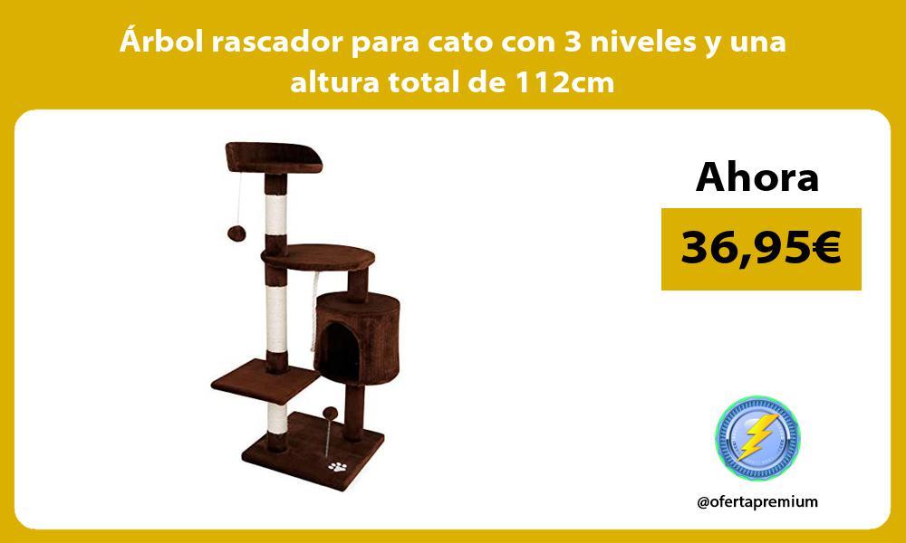 Arbol rascador para cato con 3 niveles y una altura total de 112cm