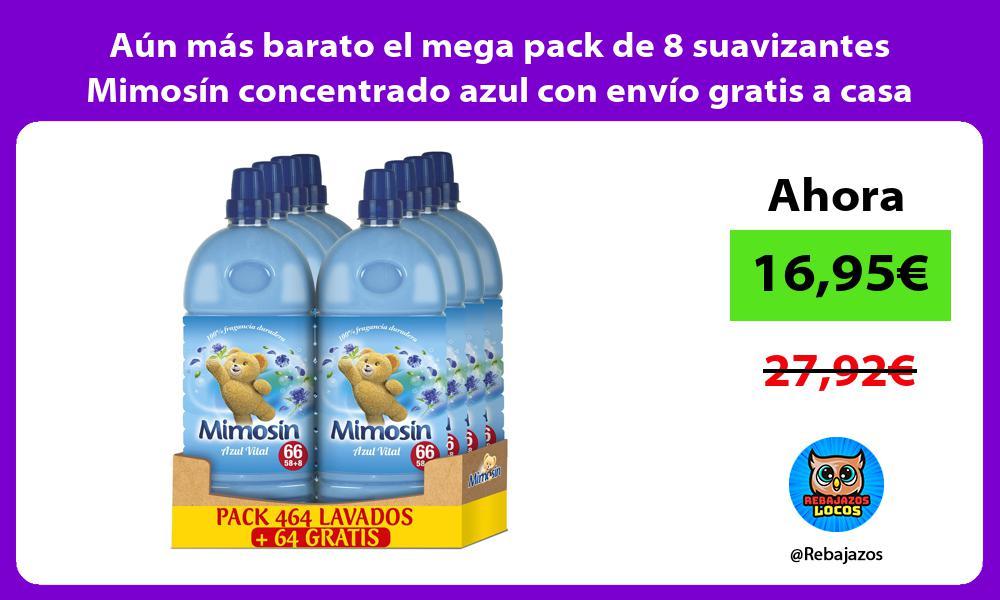 Aun mas barato el mega pack de 8 suavizantes Mimosin concentrado azul con envio gratis a casa