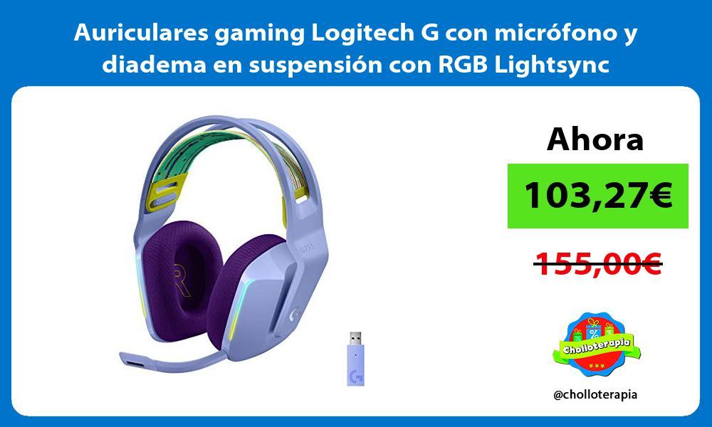 Auriculares gaming Logitech G con microfono y diadema en suspension con RGB Lightsync