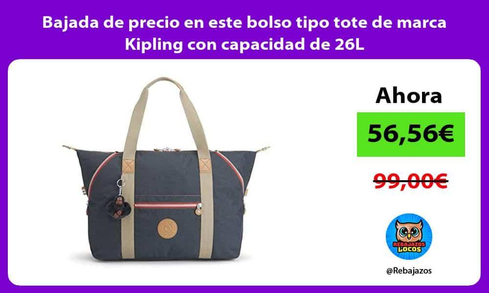 Bajada de precio en este bolso tipo tote de marca Kipling con capacidad de 26L