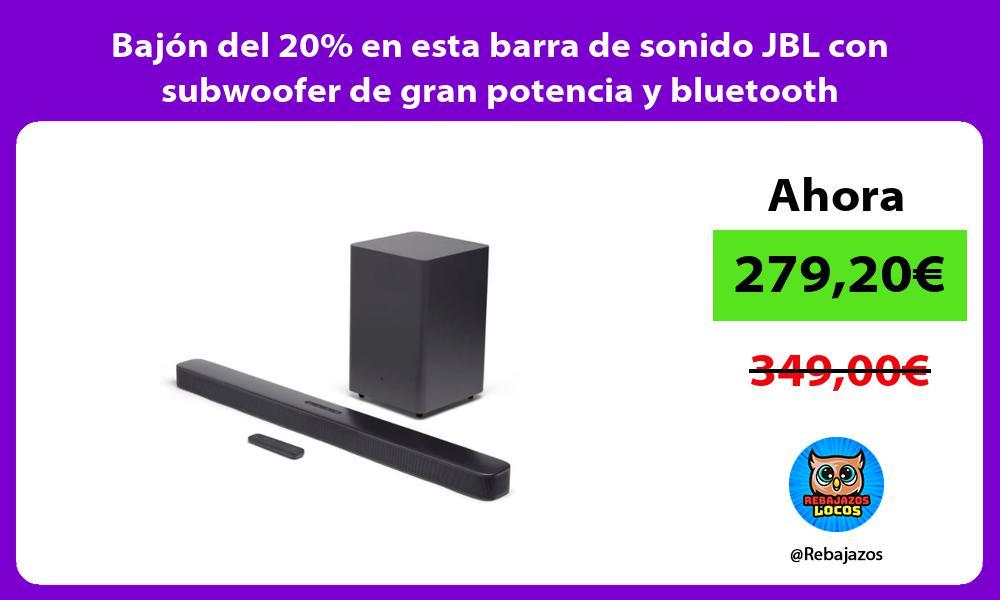 Bajon del 20 en esta barra de sonido JBL con subwoofer de gran potencia y bluetooth