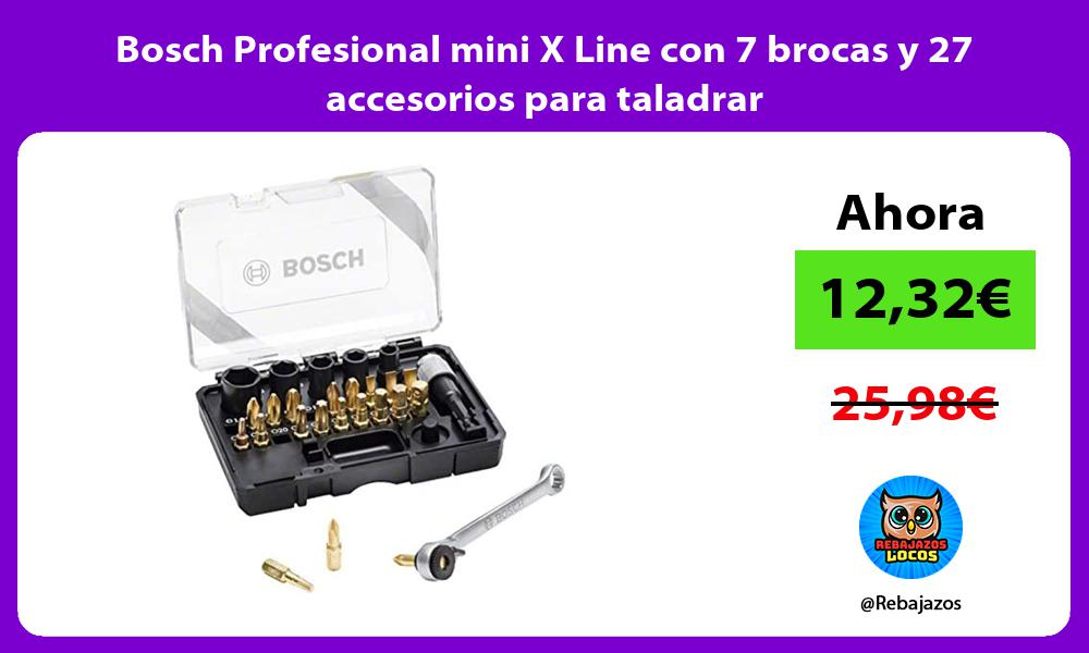 Bosch Profesional mini X Line con 7 brocas y 27 accesorios para taladrar