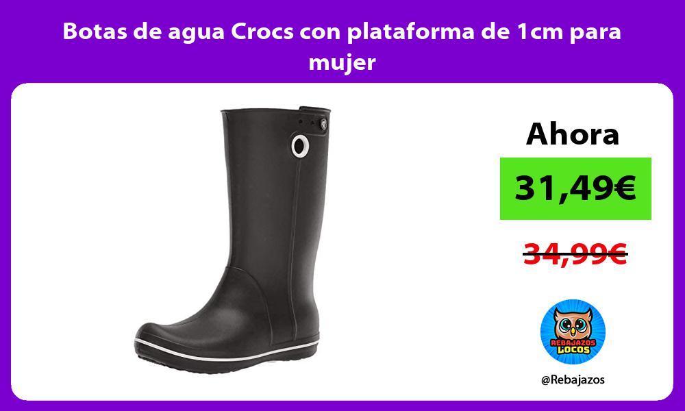 Botas de agua Crocs con plataforma de 1cm para mujer